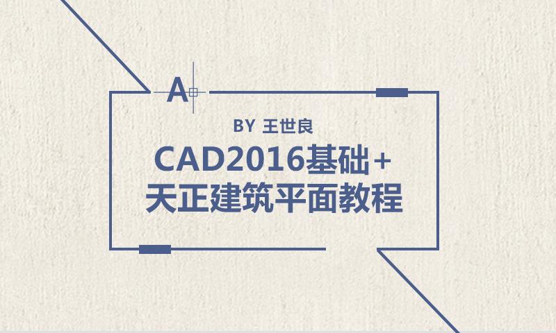 王世良:CAD2016基础+天正建筑平面教程
