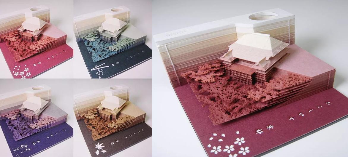 日本人把建筑模型设计成了便签纸,撕着撕着就撕出了一座清水寺……