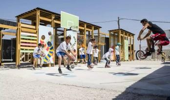 叙利亚难民儿童临时游乐场