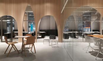 木拱门连通贯穿的H&M台湾办公室