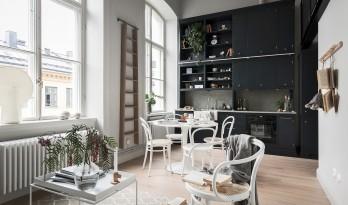 黑与白,北欧老公寓的当代狂想曲