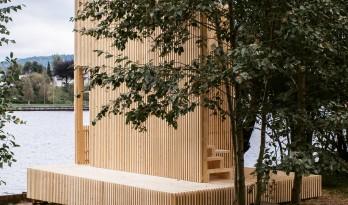 波什格伦河畔,纯木条打造的观景亭