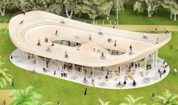 轻盈的屋顶,位于度假圣地的自行车俱乐部
