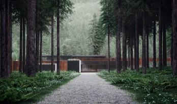 苍翠山林中一抹冷艳的红:用耐候钢制成的乌克兰小住宅