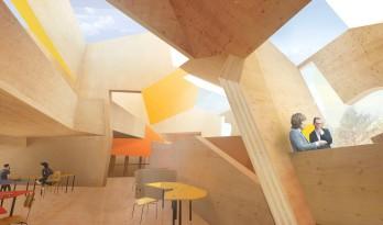 Peter Cook 公布伯恩茅斯艺术大学创意中心方案,用橙色交叉木材料模拟太阳光景
