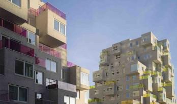 """体块堆叠和转移形成的三维像素体 — """"夏日""""公寓"""
