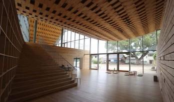 编织式悬索木制屋顶,孩子们的课后学校 — 日本自然科学寺子屋