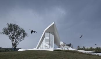 轻盈优雅,停落于湿地旁的白色纸鹤——武汉湿地展览馆