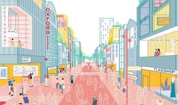 插画风温暖表现图,活力满满的街道小场景