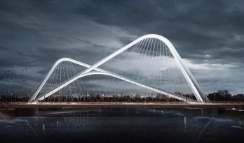 南京承天大桥建造中,结构映四座山峦形态