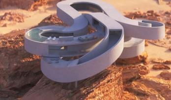 悬空于沙漠景观之上的蜿蜒纠缠的混凝土体量