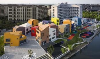 老集市的味道,儿时记忆里的色彩:上海临港新城社区商业中心 / 上海中房建筑设计