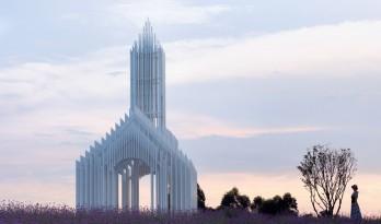 成都中法科技园教堂,融于紫色薰衣草庄园