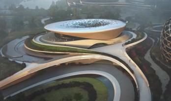 """扎哈·哈迪德建筑事务所在中国成都""""独角兽岛""""首座建筑即将完工"""