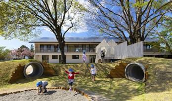 儿童画里的木屋乐园,MRN幼儿园 / HIBINOSEKKEI +日比野设计