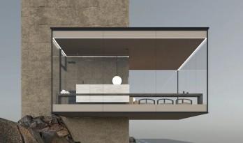 矗立于悬崖绝壁上的极简玻璃小屋 / Yakusha Design