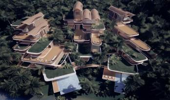 """扎哈事务所""""罗阿坦岛住宅""""方案,漂浮的丛林聚落"""