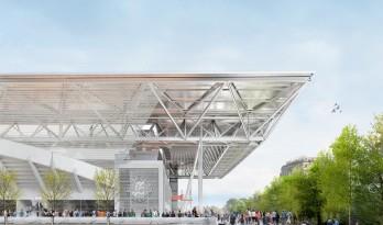 """苏珊·朗格伦网球场""""折叠可开合式新型屋顶""""中标方案 / 多米尼克·佩罗建筑事务所"""