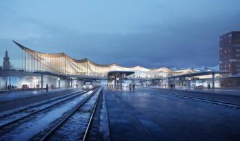 用一叶屋顶整合的交通枢纽/BIG