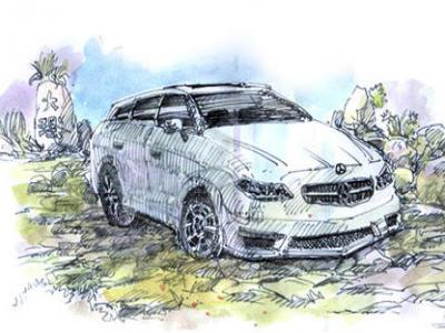 钢笔淡彩写生教程(六):汽车画法