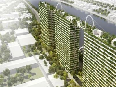 屋顶花园连接三栋住宅楼,建筑立面上设有种满竹子的种植箱.