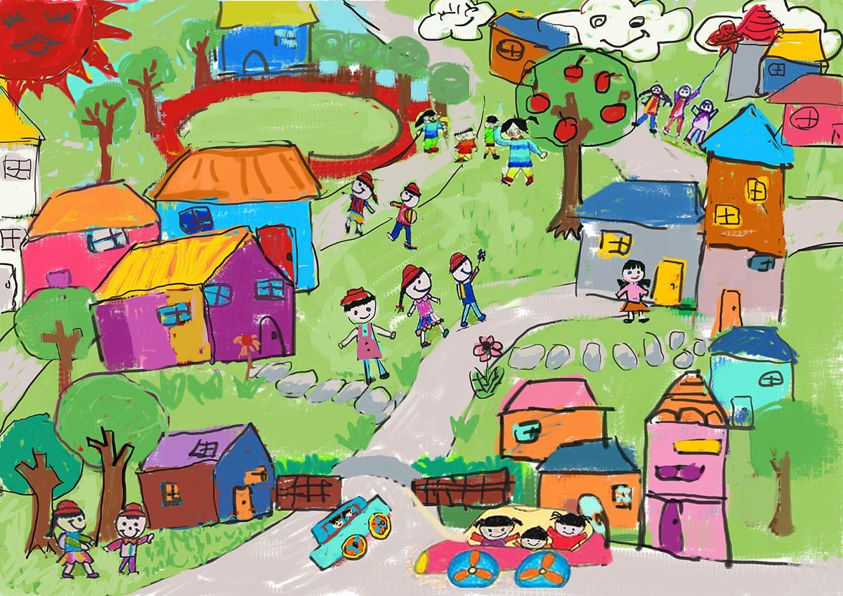 房子,依照幼儿园,小学与初中学生不同的尺度与行为将