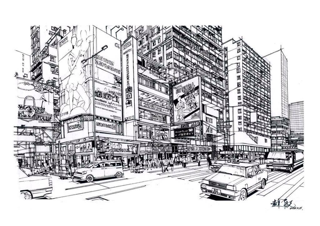 建筑素描步骤图