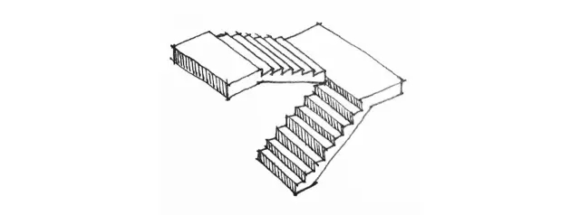 如果直跑式楼梯在休息平台转变方向,就成了楼梯的另一个种类——对折