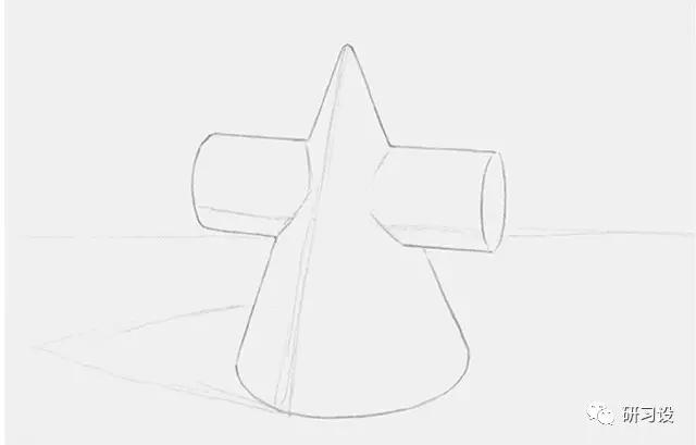 圆柱体和圆锥体交叉而成的几何形体,绘画之前要仔细观察物体的透视