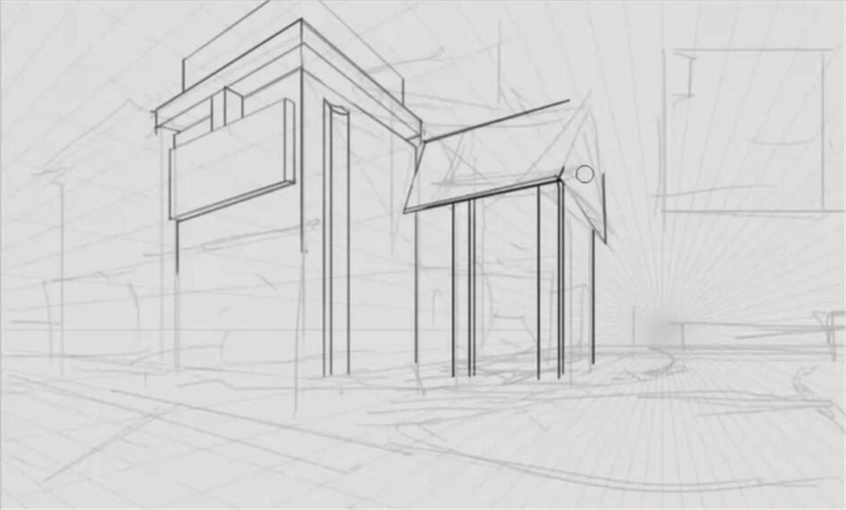 建筑体块两点透视练习与讲解