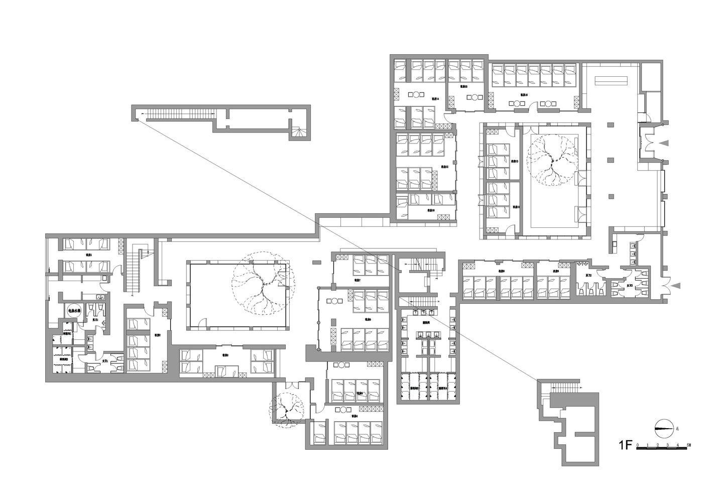 旅馆建筑设计平面图_北京协作胡同胶囊酒店 / B.L.U.E. 建筑设计事务所 | 建筑学院