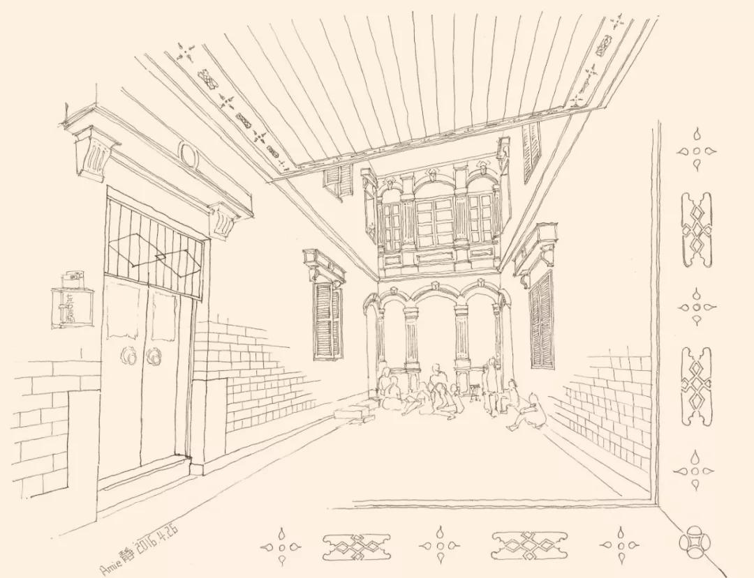 从西式立面的罗马券柱式大门洞进入善馀堂后,是一个建筑学意义上的灰图片
